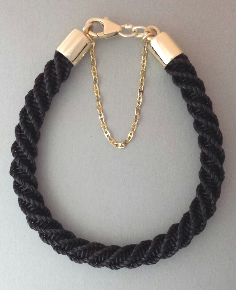 9ct gold Spiral bracelet black with safety chain