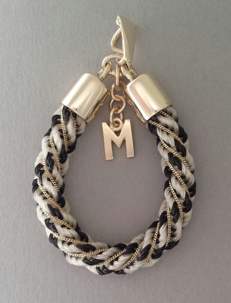 Gold inlaid Spiral pendant black and white hair and M charm