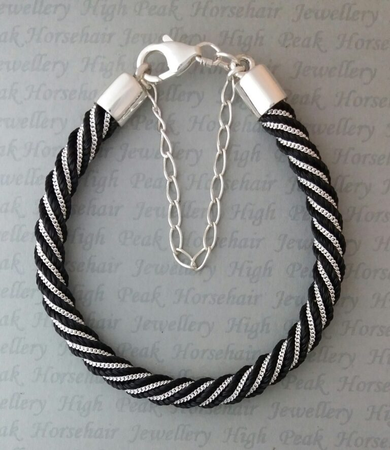Silver inlaid Spiral bracelet with safety chain black hair